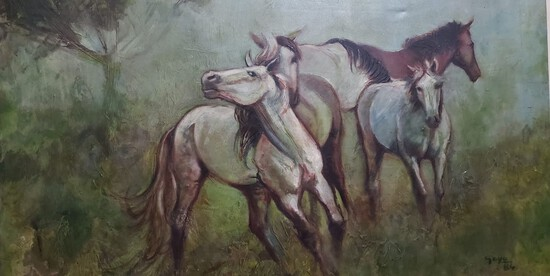 Antique Oil Horses Landscape By Cristina Gayo 1984