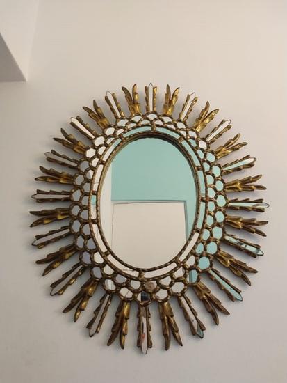 Stylish Antique Gold Mirror Oval - Glazed Style