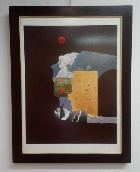 Antique Peruvian Master Contemporary Venancio Shinki / Cardboard Painting Signed