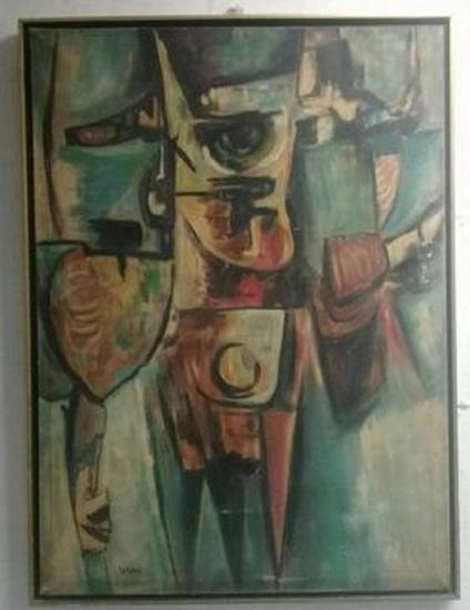 "Oswaldo Vigas - Antique Oil Canvas ""guerrero"""