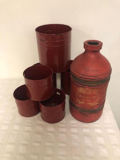 6 Decorative metal cans metal vase