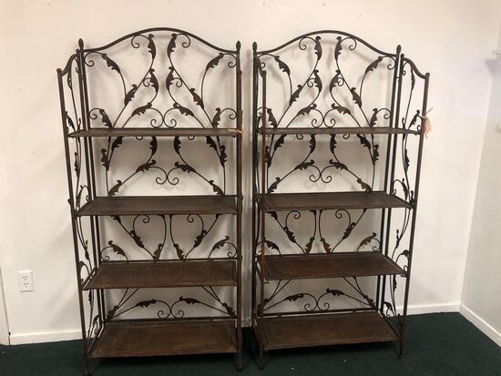 2 bronze metal shelves