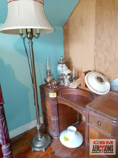 Lamps, lamp shades, and book ends