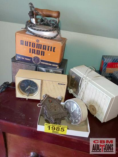 Iron, radio, clocks, and clock radios