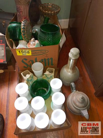 Green glassware, other glassware, decantur, tea pot