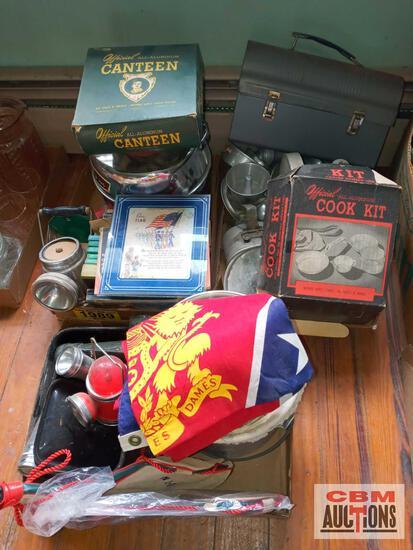 Kappa Alpha flag, flash lights, camp cookware, scout books
