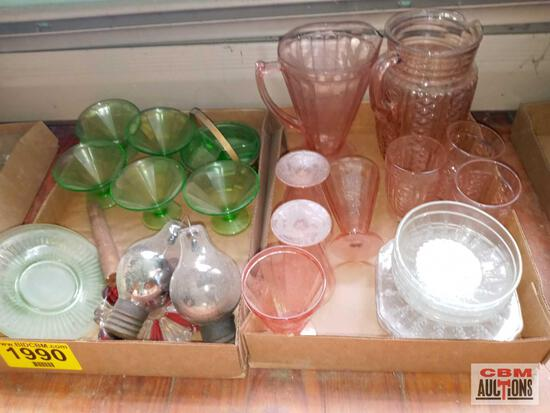 Green and pink glassware, fancy light bulbs