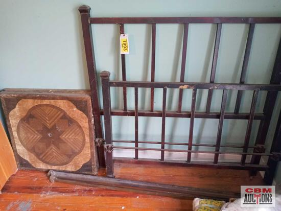 """Metal bed frame (55.25""""w) and 2 folding card tables (30"""")"""