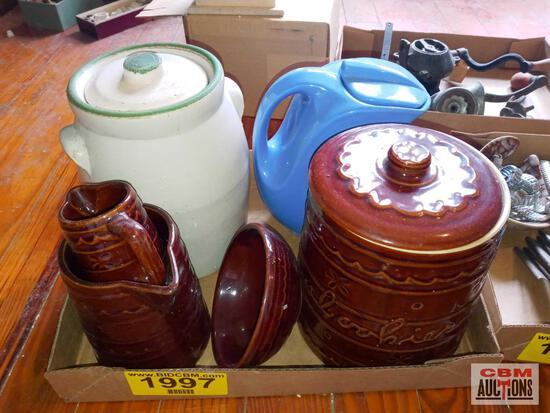 Marcrest Stoneware cookie jar, Montgomery Ward pitcher, and other stoneware
