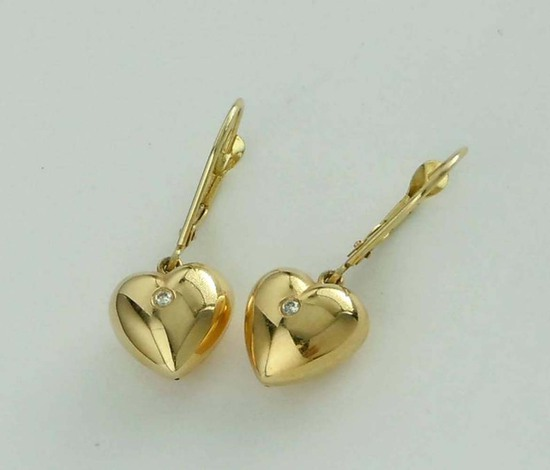 14KT YELLOW GOLD DIAMOND PUFFY HEART DANGLE EARRINGS