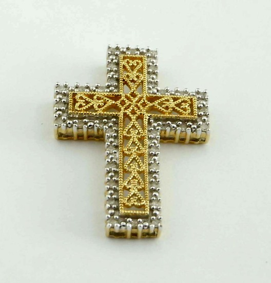 14Kt GOLD DIAMOND FILIGREE OPEN HEART CROSS SLIDE PENDANT