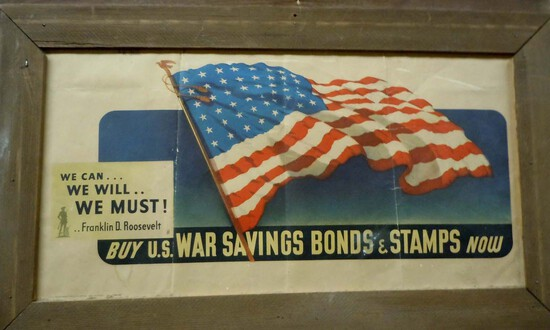 WWII FDR PROPAGANDA POSTER BUY US WAR BONDS USA FLAG