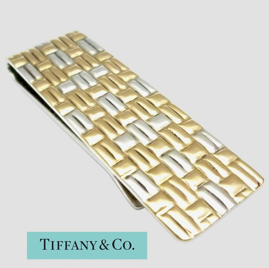 TIFFANY 18K GOLD AND 925 SILVER BASKET WEAVE MONEY CLIP