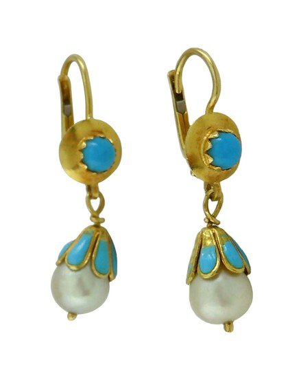 18KT GOLD CELESTE BLEU ENAMEL PEARL TURQUOISE EARRINGS