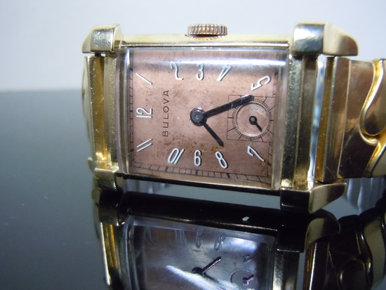 MEN'S DECO COPPER TONE DIAL 10Kt GF BULOVA WATCH c.1940