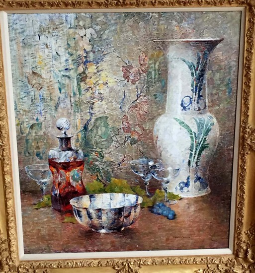 DINES CARLSEN OIL PAINTING STILL LIFE WITH CANTON BOWL & WINE GLASS, AMERICAN, 1901-1966