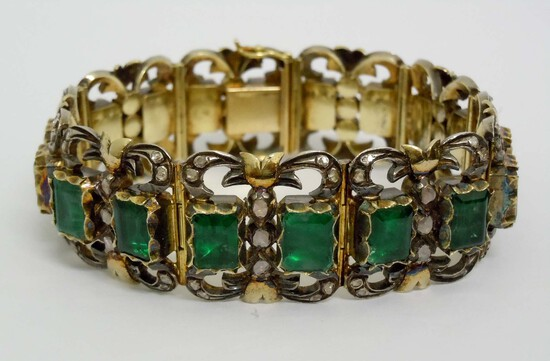 GEORGIAN SILVER AND GOLD DIAMOND GREEN CHALCEDONY BRACELET, OLD MINE-CUT AND ROSE-CUT, 68.4 GRAMS