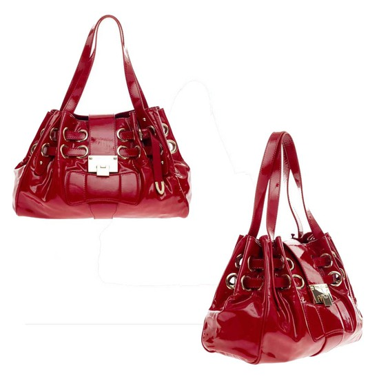JIMMY CHOO RIKI HOBO BAG RED LEATHER HANDBAG PURSE TOTE