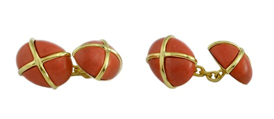 MEN'S 18KT GOLD SALMON PINK CORAL CABOCHON CUFFLINKS