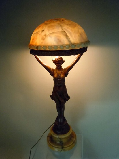 ART DECO CABARET DANCER ALABASTER BOUDOIR LAMP c. 1930