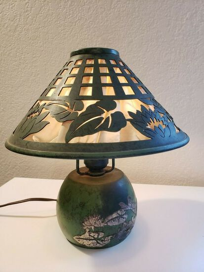 HEINTZ STERLING on BRONZE BOUDOIR LAMP IN WATER LILY PATTERN