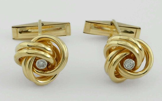 14KT GOLD BEZEL SET DIAMOND LOVE KNOT TWIST CUFFLINKS