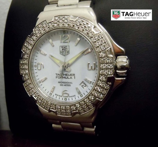 LADYS TAG HEUER FORMULA ONE WAC1215 DIAMOND WATCH w BOX