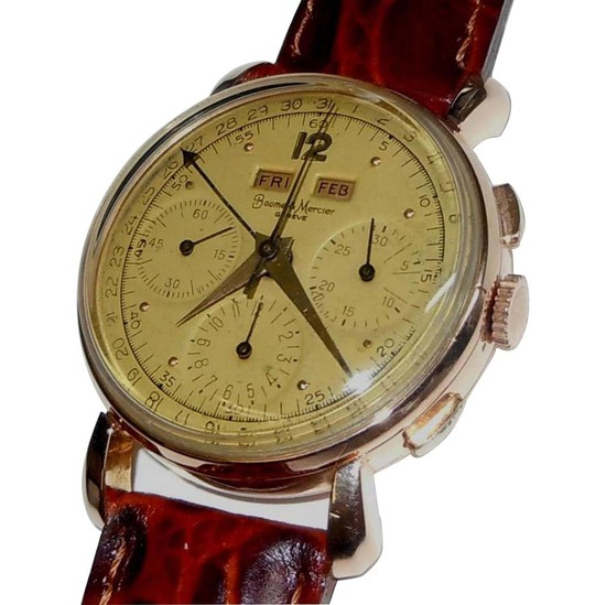 MEN'S 18KT ROSE GOLD BAUME & MERCIER 3910 CALENDAR CHRONOGRAPH 1940S SWISS VALJOUX 72C Movement (use