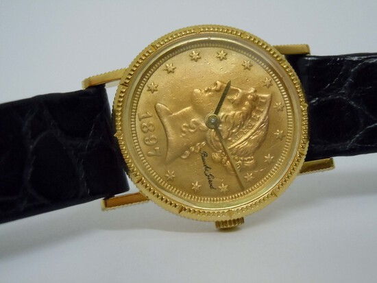 LADIES 18KT GOLD BUECHE GIROD 1897 LIBERTY HEAD WATCH