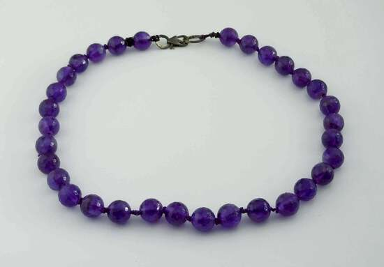 HAMMERED SILVER 200+ CARATS AMETHYST 10MM BEAD NECKLACE