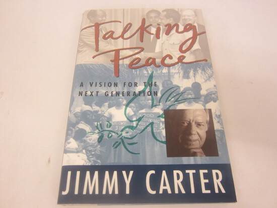 JIMMY CARTER SIGNED AUTOGRAPH BOOK TALKING PEACE