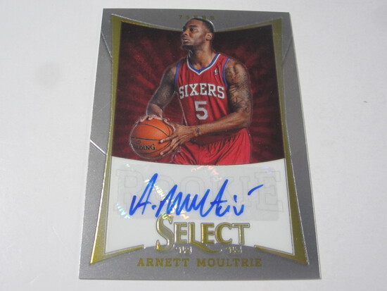 2012/13 PANINI SELECT ARNETT MOULTRIE #202 SIGNED AUTOGRAPHED NUMBERED PRIZM CARD 251/399 76ERS