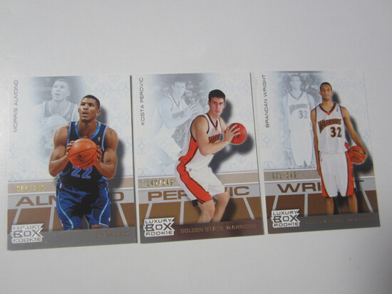 LOT OF 3 2008 TOPPS LUXURY BOX SERIAL NUMBERED ROOKIE BASKETBALL CARDS