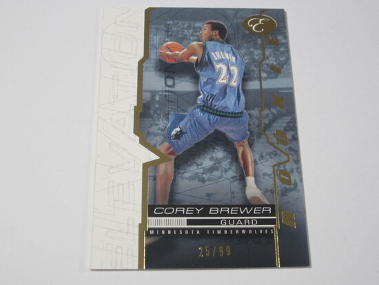 2008 TOPPS ELEVATION SERIAL NUMBERED ROOKIE BASKETBALL CARD COREY BREWER MINNESOTA TIMBERWOLVES