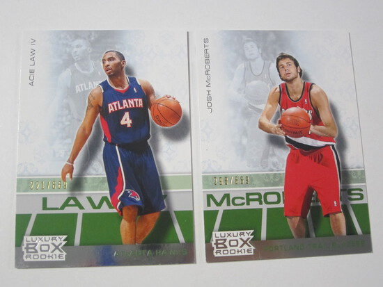 LOT OF 2 2008 TOPPS LUXURY BOX SERIAL NUMBERED ROOKIE BASKETBALL CARDS