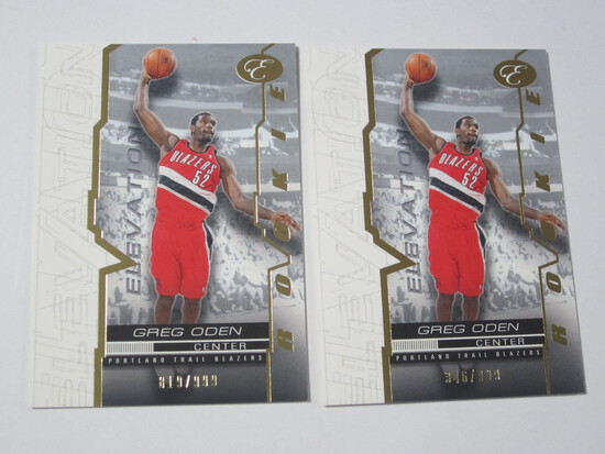 LOT OF 2 2008 TOPPS ELEVATION SERIAL NUMBERED ROOKIE CARDS GREG ODEN PORTLAND TRAIL BLAZER