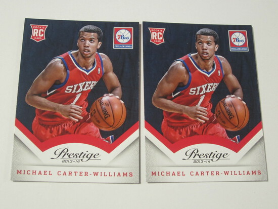 LOT OF 2 2013-14 PANINI PRESTIGE ROOKIE BASKETBALL CARDS MICHAEL CARTER-WILLIAMS PHILADELPHIA 76ERS