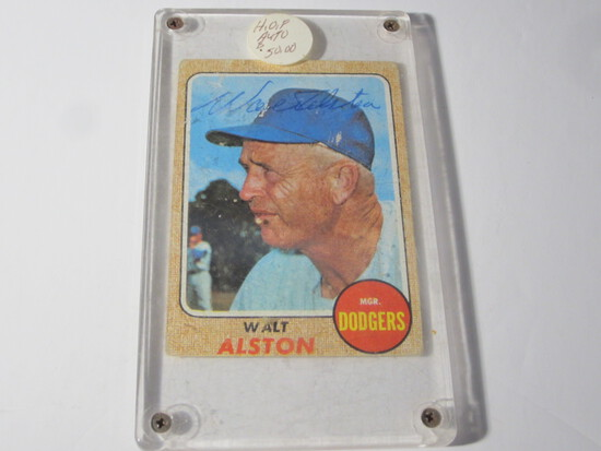 1968 TOPPS WALT ALSTON #472 SIGNED AUTOGRAPHED CARD LOS ANGELES DODGERS