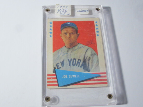1961 FLEER JOE SEWELL #76 SIGNED AUTOGRAPHED CARD NEW YORK YANKEES