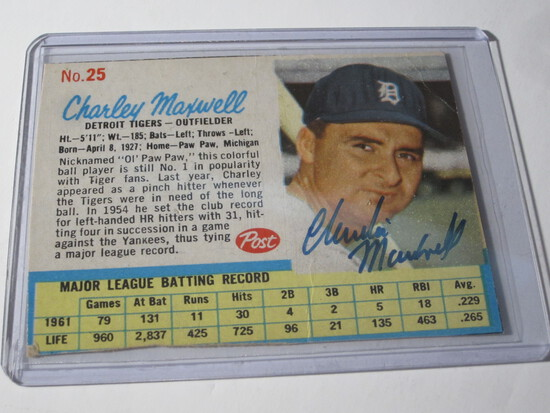 1962 POST CHARLEY MAXWELL #25 SIGNED AUTOGRAPHED CARD DETROIT TIGERS