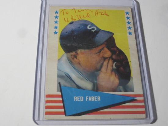1961 FLEER RED FABER #24 SIGNED AUTOGRAPHED CARD