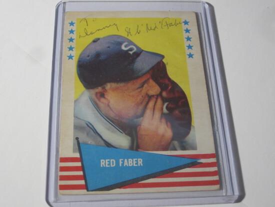 1961 FLEER RED FABER SIGNED AUTOGRAPHED CARD