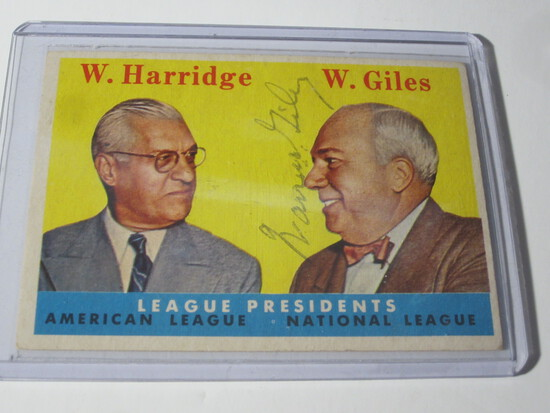1958 TOPPS LEAGUE PRESIDENTS #300 WARREN GILES SIGNED AUTOGRAPHED CARD