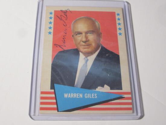 1961 FLEER WARREN GILES #33 SIGNED AUTOGRAPHED CARD