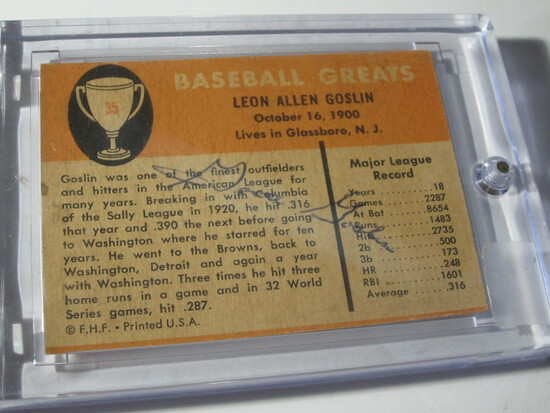 1961 FLEER GOOSE GOSLIN #35 SIGNED AUTOGRAPHED CARD  RARE