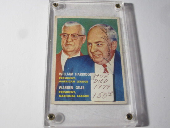 1957 TOPPS WARREN GILES #100 SIGNED AUTOGRAPHED CARD