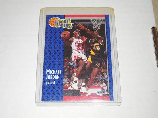 1991-92 FLEER BASKETBALL #220 - MICHAEL JORDAN LEAGUE LEADERS CARD CHICAGO BULLS