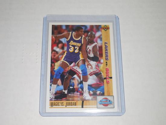 1991-92 UPPER DECK BASKETBALL #34 - MAGIC JOHNSON VS MICHAEL JORDAN CLASSIC CONFRINTATIONS