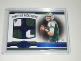 2016 PANINI PLATES & PATCHES - CHRISTIAN HACKENBERG WORN QUAD JERSEY PATCH CARD #'D 09/25 NY JETS