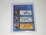 2020 ACEO ICONIC INK TRIPLE STEPH CURRY KEVIN DURANT RUSS WESTBROOK TRIPLE FACSMILE AUTOGRAPH CARD